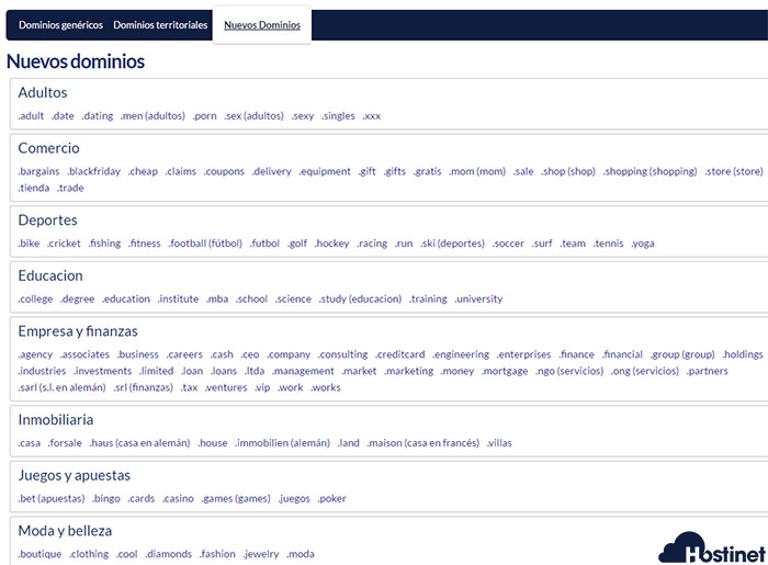 hostinet nuevos dominios