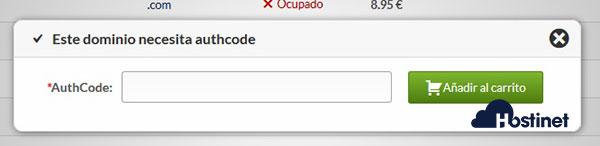 Dominio necesita auth-code