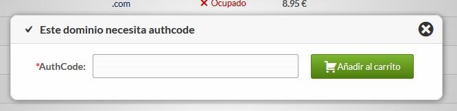 que es el auth code EPP Hostinet