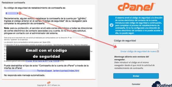 email con código seguridad acceso a cPanel