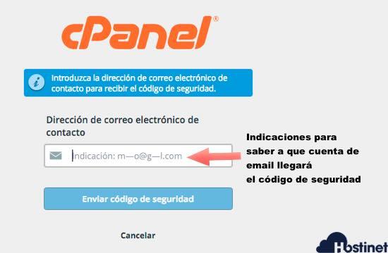 indicaciones saber dode se enviará el código de seguridad para recuperar la contraseña de acceso a cPanel