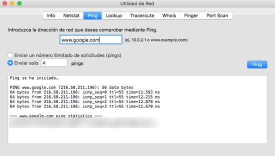 ping utilidad de red Mac Os X