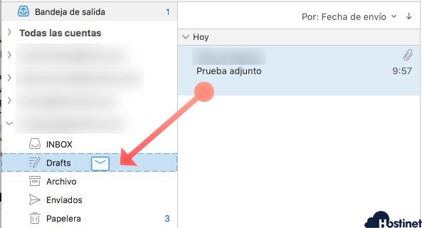 arastrar email borradores Microsoft Outlook