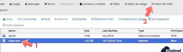 Editor HTML de cPanel para editar Index.html