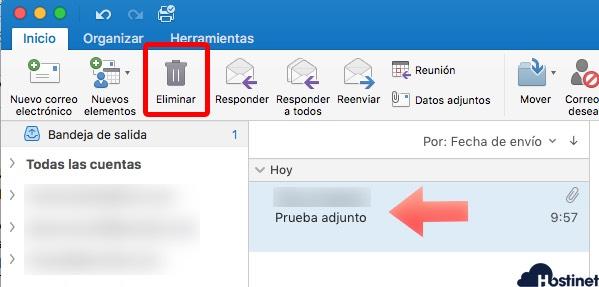 eliminar mensaje en Microsoft Outlook