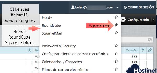 escoger cliente webmail hostinet