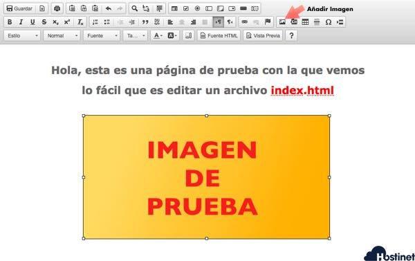 Añadir imagen y guardar index html cpanel