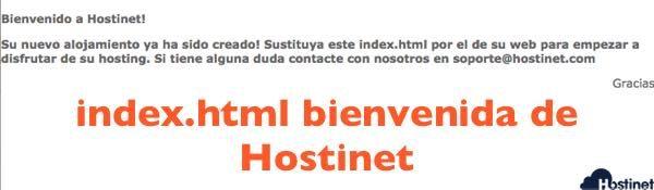 index bienvenida Hostinet cuando se da de alta un hosting