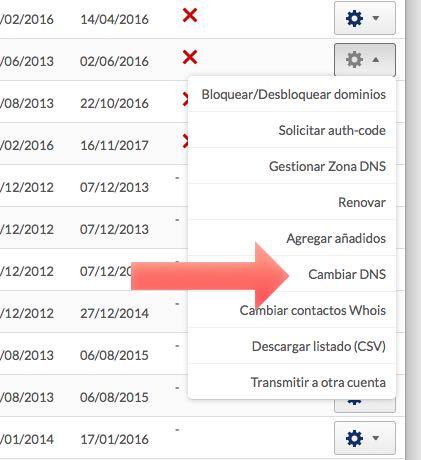cambiar DNS desde panel de Hostinet