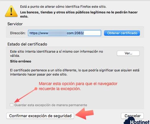 confirmar excepcion seguridad Firefox