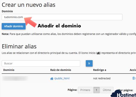creacion parking dominio desde cPanel en Hostinet