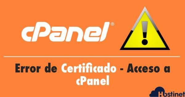 Error de Certificado | Acceso a cPanel