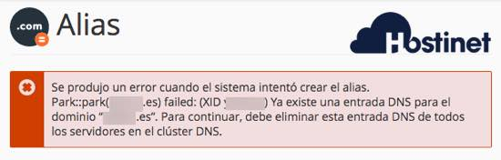 error parking dominio ya existe dns desde cPanel