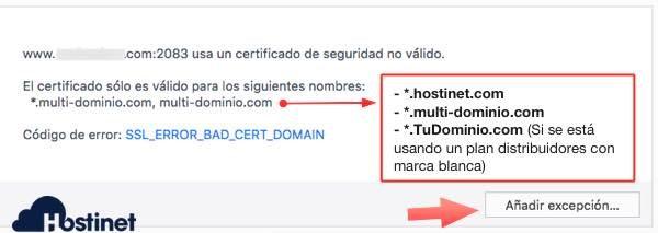 excepcion certificado cpanel en Firefox