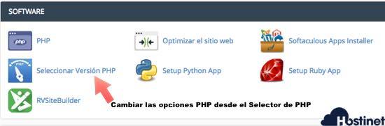 seleccionar version php icono de cPanel