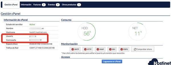 datos acceso cpanel hostinet central - Hostinet