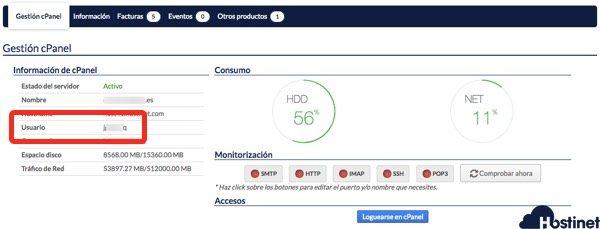 datos acceso cpanel hostinet usuario - Hostinet