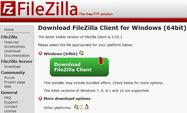 filezilla descarga cliente windows