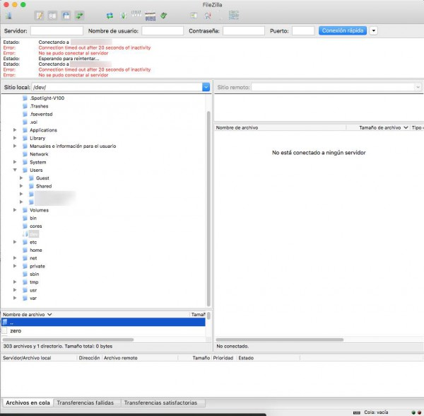 filezilla interface en MAc os X