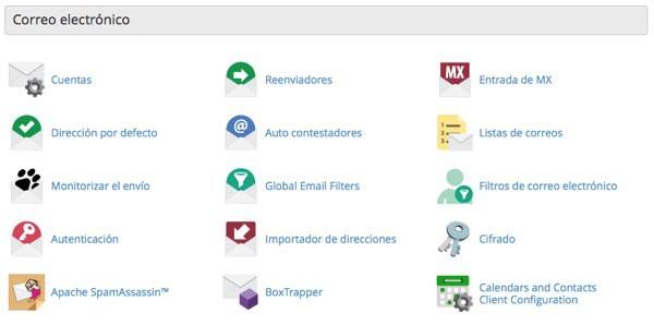 Cuentas de correo electronico en Cpanel