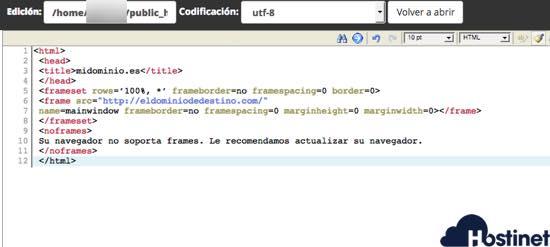 codigo redireccion oculta o URL Frame en index