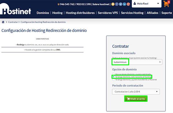 hostinet configuración hosting redirección dominio