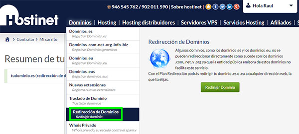 Hostinet dominios redirección dominios