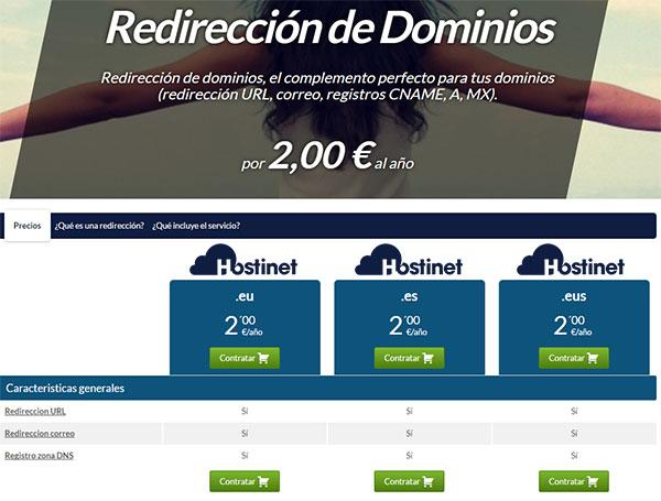 Hostinet redirección dominios (2€ al año)