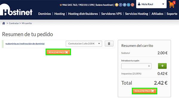 Hostinet redirección dominio realizar pago