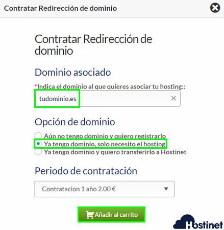 Hostinet ventana contratar redirección dominio