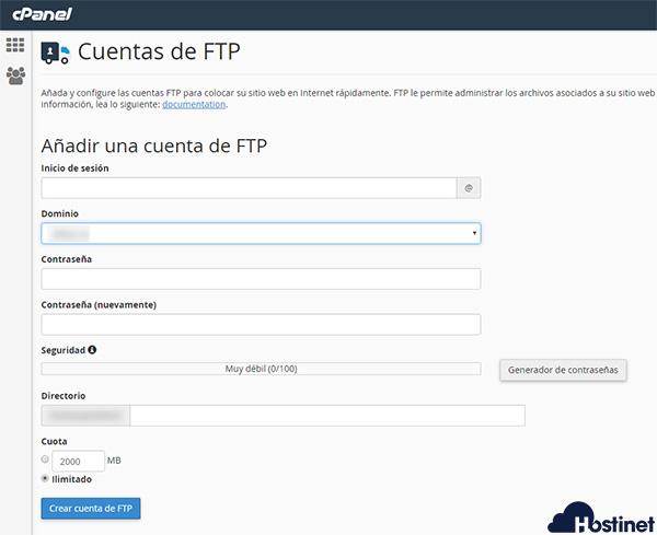 cPanel Cuentas de FTP Añadir