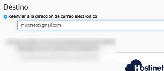 añadir el email donde se quiere reenviar los email