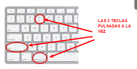 Hacer capturas de pantalla en nuestro mac manteniendo pulsadas comando mayusculas y 3