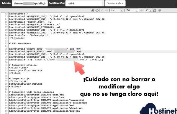 archivo htaccess editor cPanel