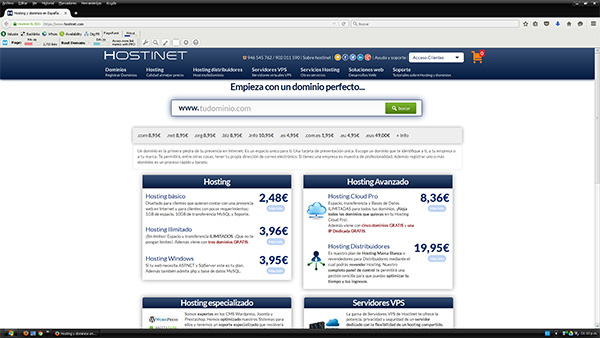 Hostinet pantallazo de la nueva versión