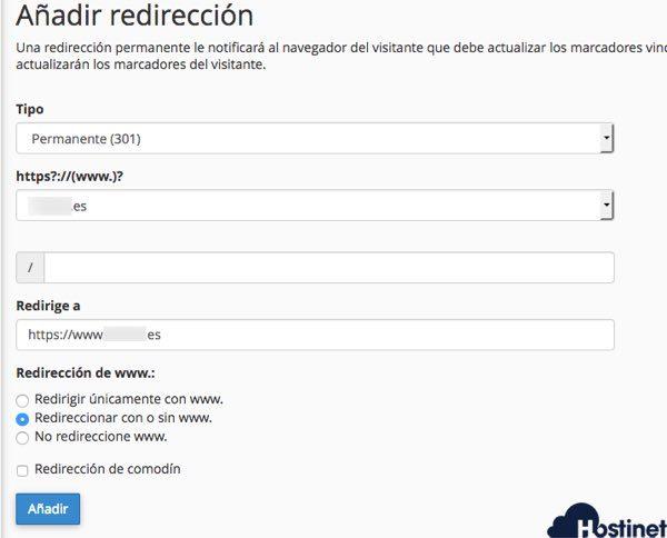redirecion dominio  www  desde cpanel