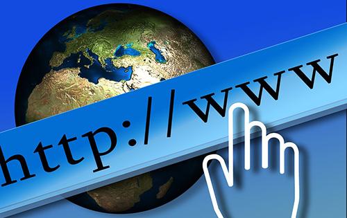 Silueta de mano con WWW