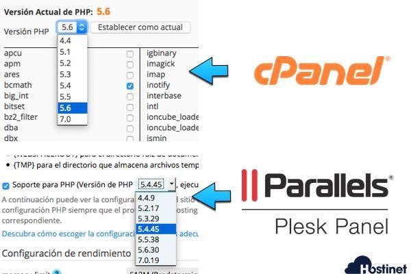 desplegable php cpanel plesk en Hostinet
