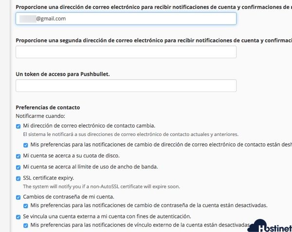 cambios informacion contacto cpanel - Hostinet