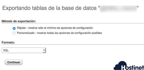 elegir el método de copia de seguridad de la base de datos en phpMyAdmin