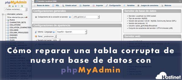 Cómo reparar una tabla corrupta de nuestra base de datos con Php MyAdmin