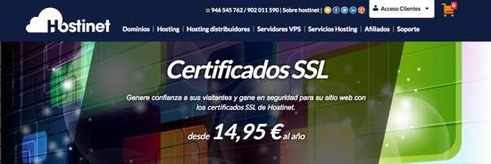 Contratar un certificado SSL en Hostinet desde 14,95€ al año