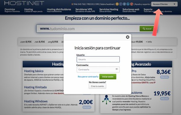 Acceso clientes Hostinet