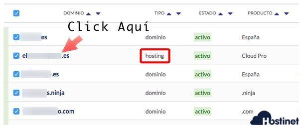 pulsar sobre el hosting activo para acceder a cPanel