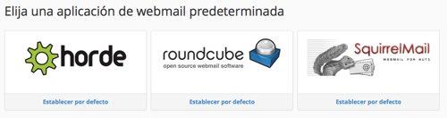 elegir aplicacion webmail en cpanel