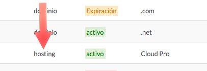 Click en hosting activo