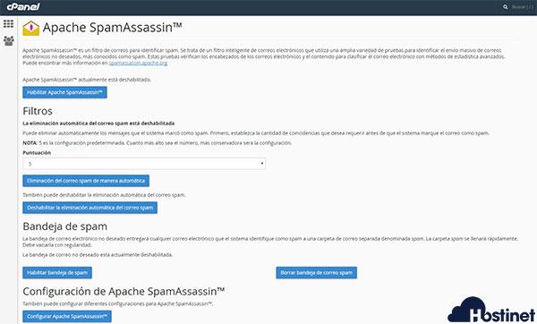 Apache SpamAssassin Opciones