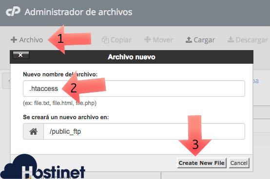 crear archivo htaccess administrador archivos en Hostinet
