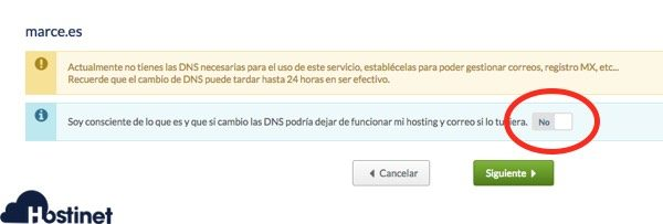 advertencia modificacion zona dns en Hostinet