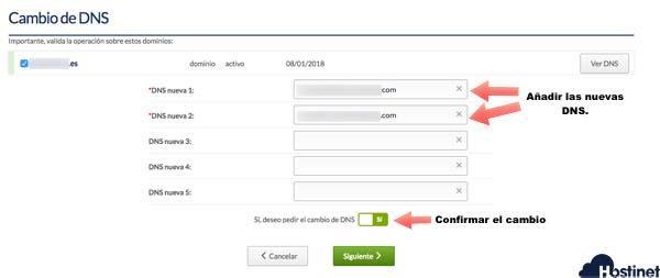 confirmacion cambiar dns hostinet desde ficha de cliente